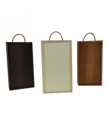 Comprar caja de madera con tapa corredera alistonada para 6 botellas