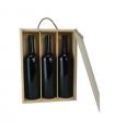 Caja de madera para tres botellas de vino