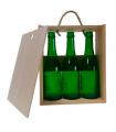 Caja de madera para tres cervezas