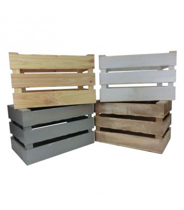 Comprar caja de madera tapa con cierres rústicos para 3 botellas mixtas